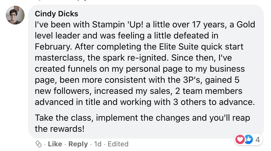 Build a Profitable Direct Sales Business with Elite Suite Quick Start Masterclass Testimonial